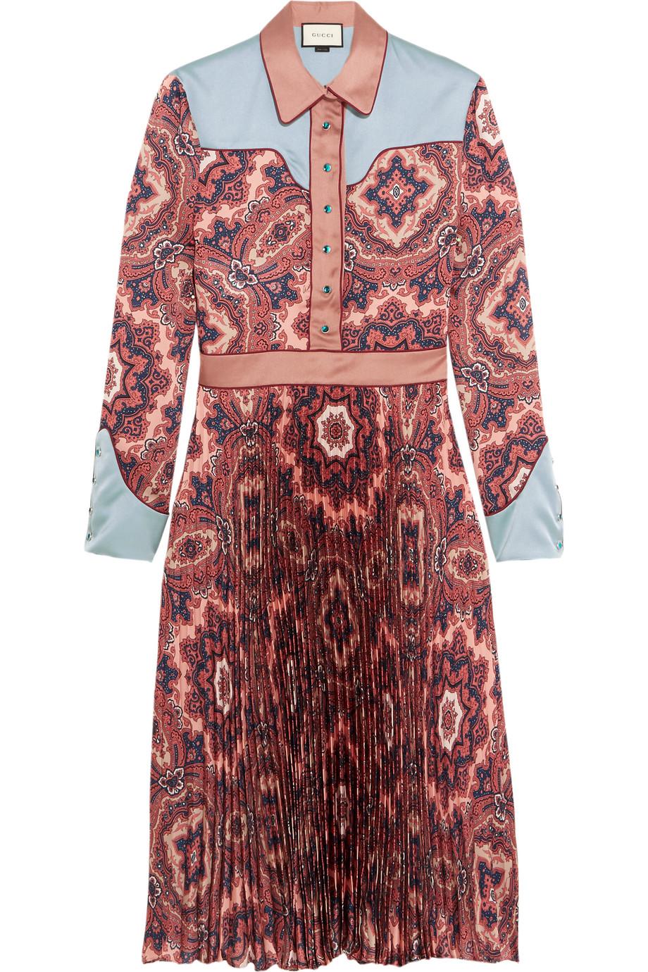 Gucci Paisley-Print Plissé Silk-Satin Dress, Pink, Women's, Size: 42