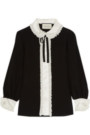 Gucci Ruffled satin-trimmed silk crepe de chine blouse