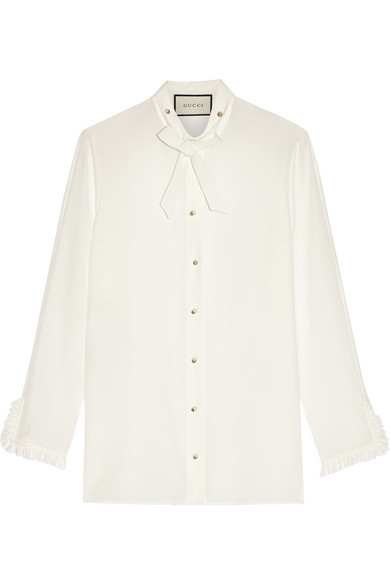 Gucci - Pussy-bow Silk Crepe De Chine Shirt - Off-white