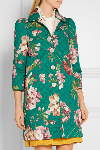 Gucci Quilted Floral Print Cotton Blend Coat Net A