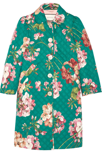 Gucci - Quilted Floral-print Cotton-blend Coat - Jade