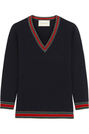 Stripe-trimmed wool sweater