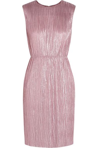 Gucci - Plissé Lamé Mini Dress - Pink