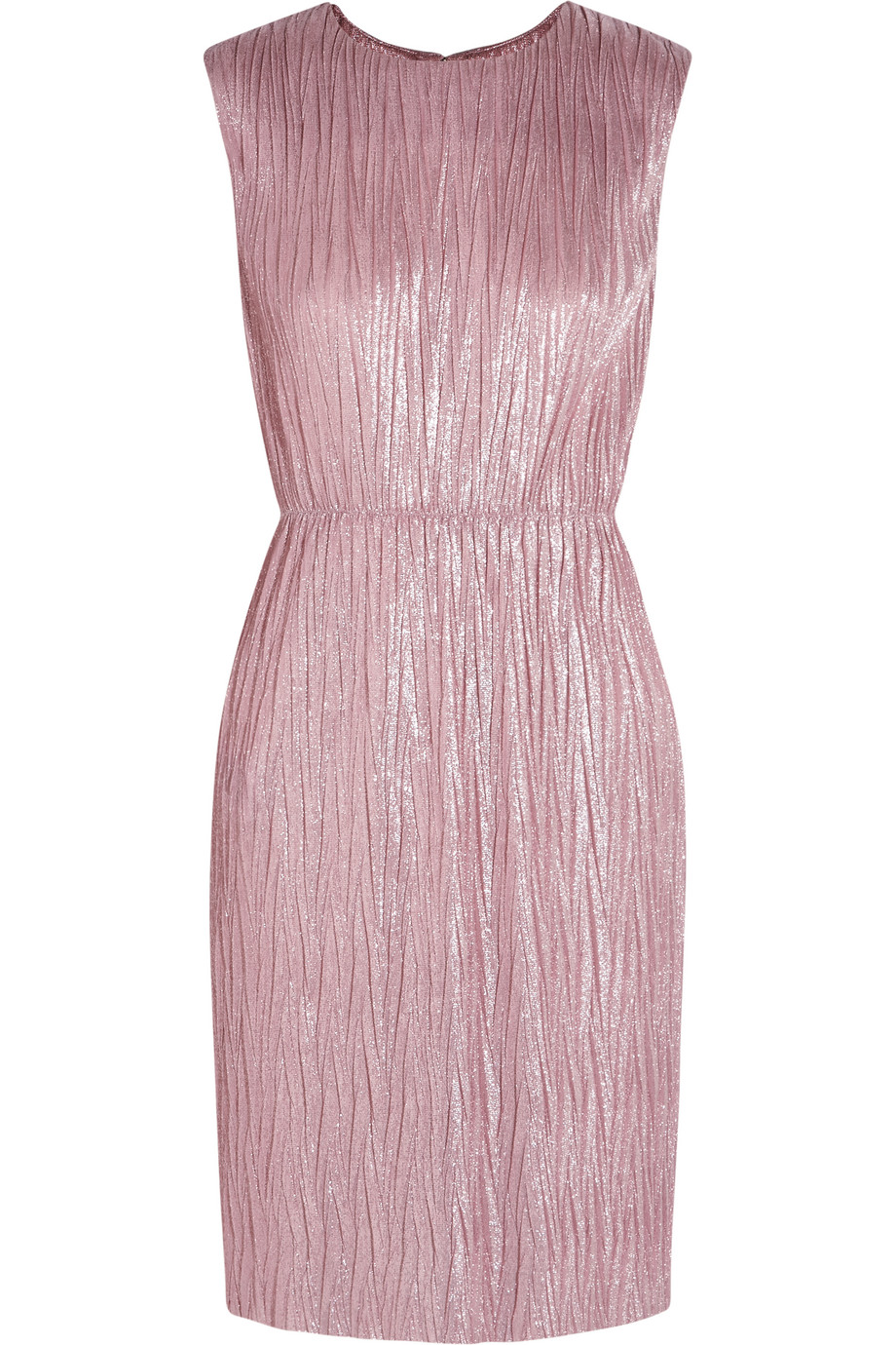 Gucci Plissé Lamé Mini Dress, Pink, Women's