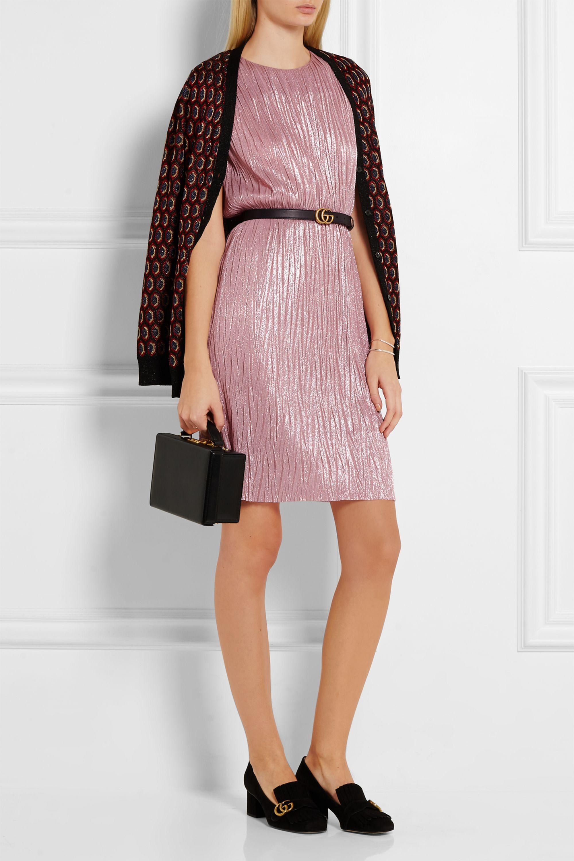 Gucci Plissé lamé mini dress