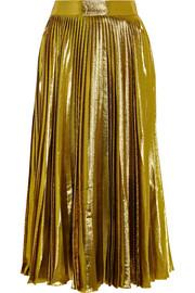 Metallic pleated silk-blend midi skirt