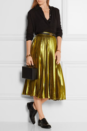Gucci Metallic pleated silk-blend midi skirt