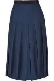 Pleated silk and wool-blend skirt
