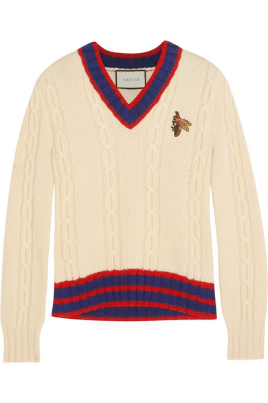 gucci female 186518 gucci appliqued cableknit wool sweater beige