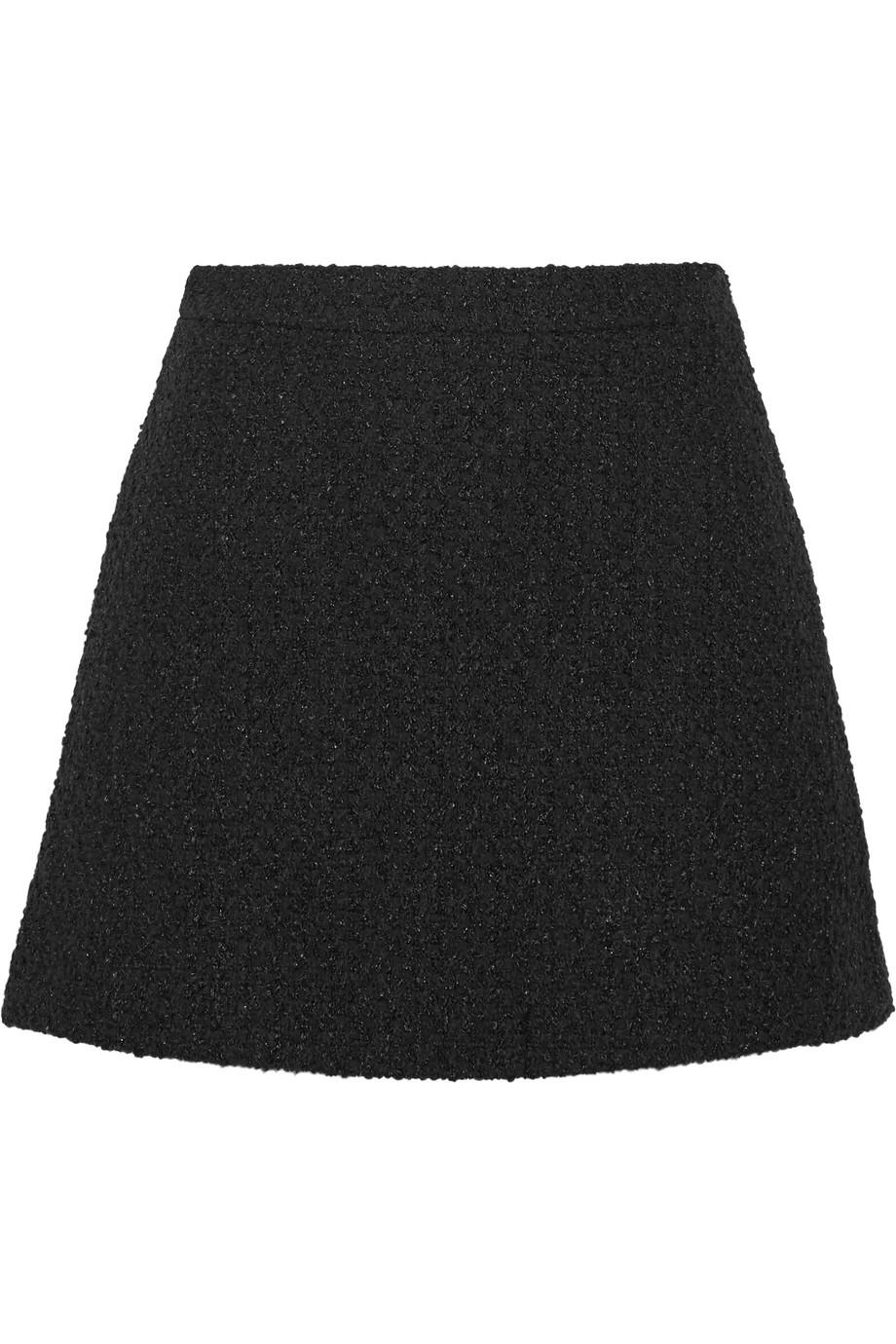 Gucci Tweed Mini Skirt, Black, Women's, Size: 48