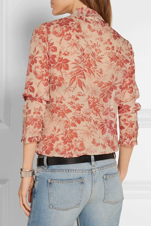 Gucci Pussy-bow printed silk-chiffon blouse