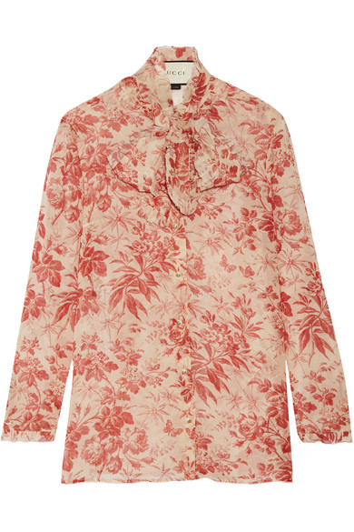 Gucci - Pussy-bow Printed Silk-chiffon Blouse - Claret