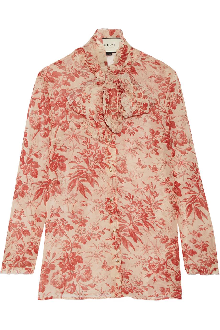Gucci Pussy-Bow Printed Silk-Chiffon Blouse, Claret/Blush, Women's, Size: 44