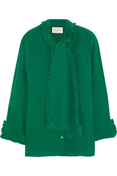 Gucci - Ruffled Silk Crepe De Chine Shirt - Green
