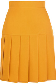 Pleated silk and wool-blend crepe mini skirt