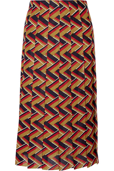 Gucci - Pleated Printed Silk And Wool-blend Skirt - Red
