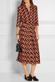 Gucci Pleated printed silk and wool-blend skirt