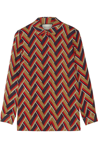 Gucci - Printed Silk And Wool-blend Shirt - Red