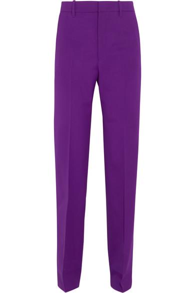 Gucci - Stretch Wool And Silk-blend Straight-leg Pants - Purple