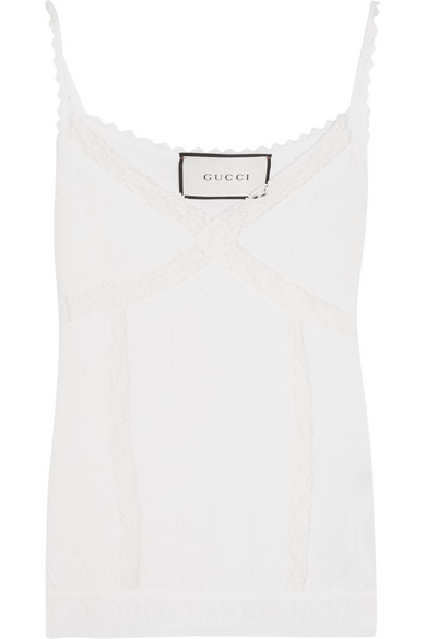 gucci female 45883 gucci lacepaneled wool camisole white