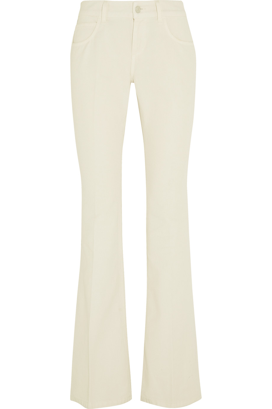 Gucci Mid-Rise Flared Jeans, White, Women's, Size: 31