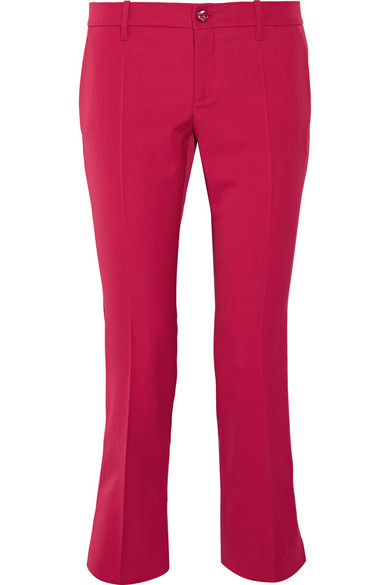 gucci female 123967 gucci cropped stretch wool and silkblend flared pants magenta