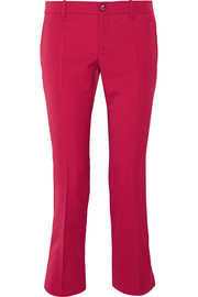 Gucci Cropped stretch wool and silk-blend flared pants