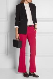 Cropped stretch wool and silk-blend flared pants