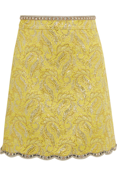 Gucci - Embellished Metallic Brocade Mini Skirt - Yellow