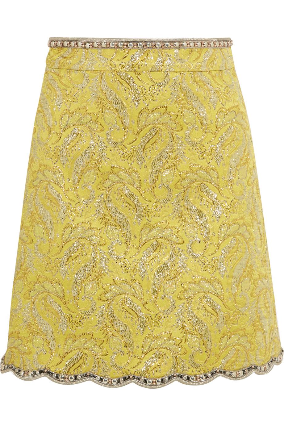 Gucci Embellished Metallic Brocade Mini Skirt, Yellow, Women's, Size: 38