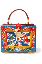Dolce & Gabbana Dolce leather-trimmed painted wood clutch