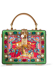 Dolce & Gabbana Carretto crystal-embellished printed patent-leather clutch
