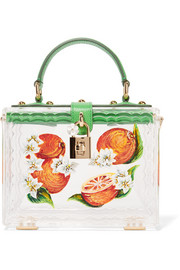 Dolce & Gabbana Dolce lizard-effect leather-trimmed painted Plexiglas® tote