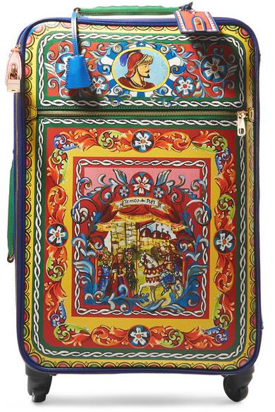 355a0d909 Valise trolley en cuir texturé imprimé Carretto
