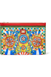Carretto leather-trimmed printed twill pouch