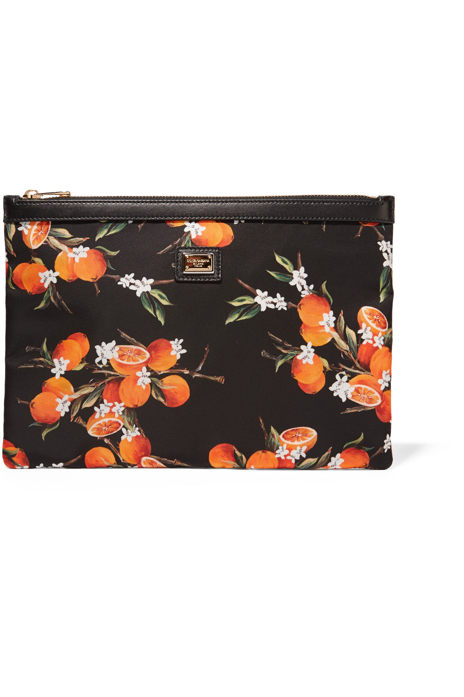 Dolce & Gabbana Leather-Trimmed Printed Canvas Pouch