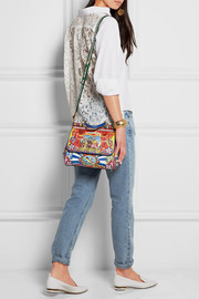 Dolce & Gabbana Sicily medium printed textured-leather tote