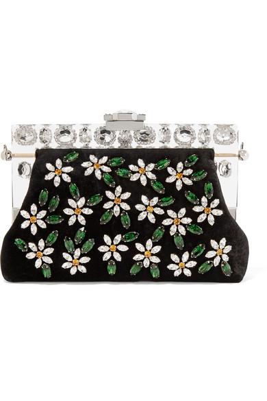Dolce & Gabbana - Vanda Small Swarovski Crystal-embellished Velvet Clutch - Black