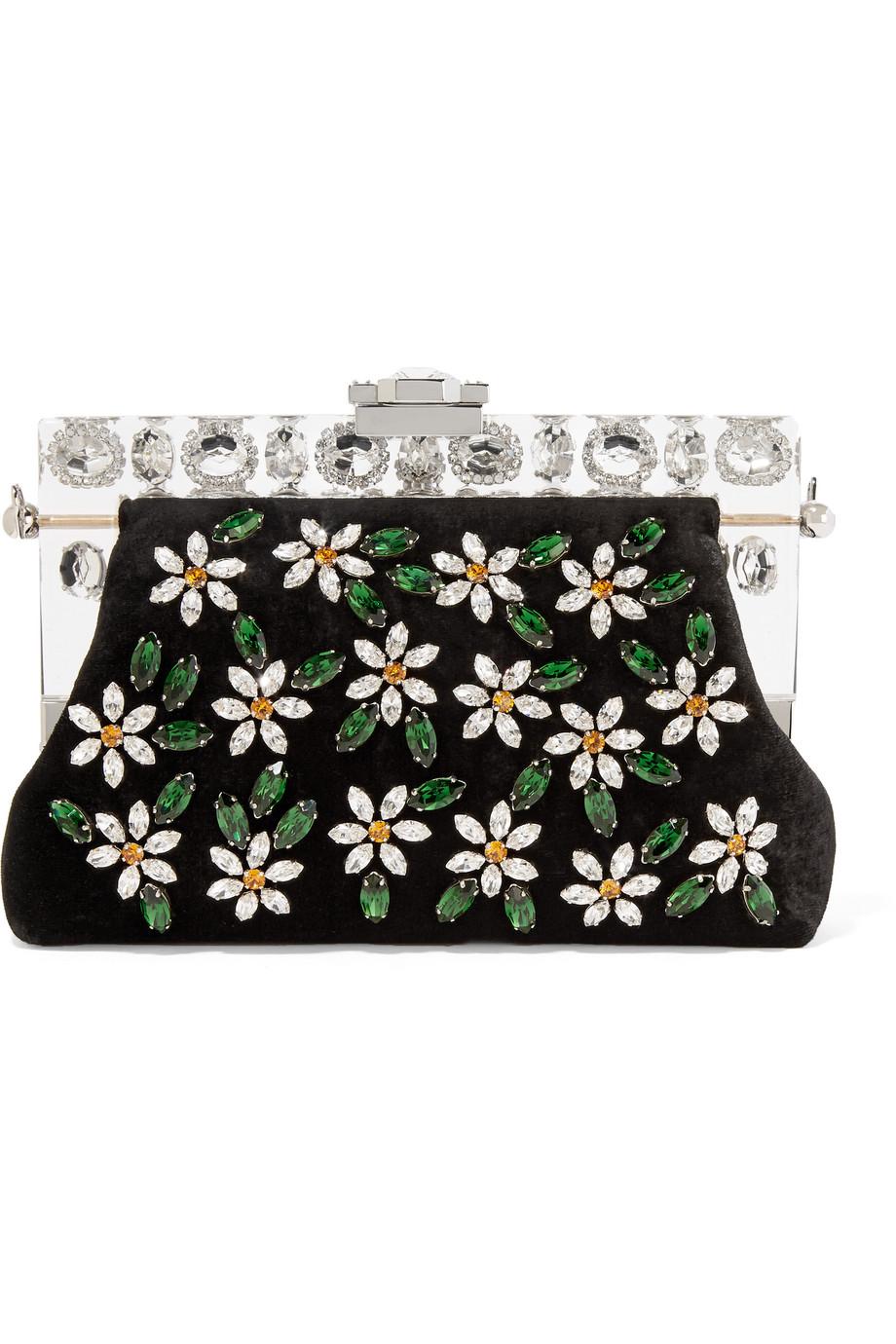 Dolce & Gabbana Vanda Small Swarovski Crystal-Embellished Velvet Clutch, Black/Silver, Women's