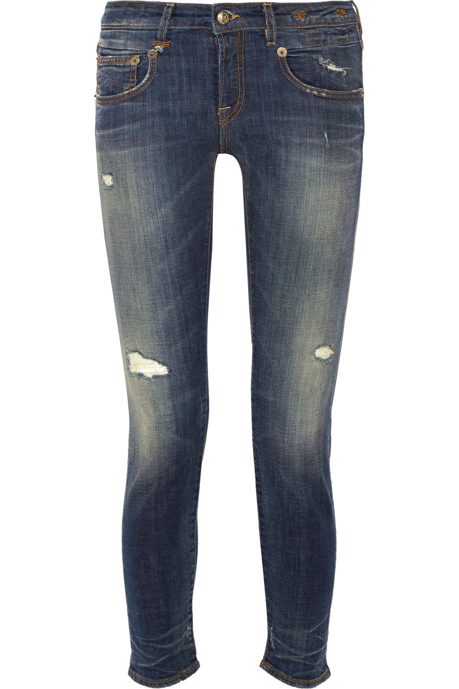 R13 Boy Distressed Low-Rise Slim Boyfriend Jeans, Mid Denim, Size: 26