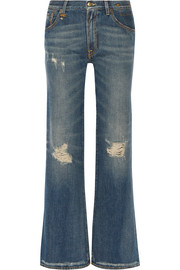 Jane distressed mid-rise flared jeans