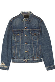 Rebel embroidered distressed denim jacket