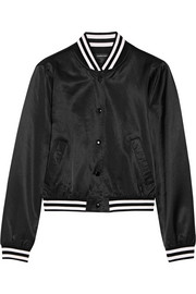 Roadie embroidered satin bomber jacket