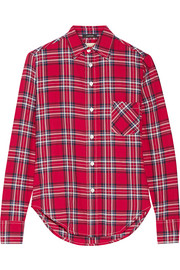 Slim Boy plaid cotton-blend flannel shirt