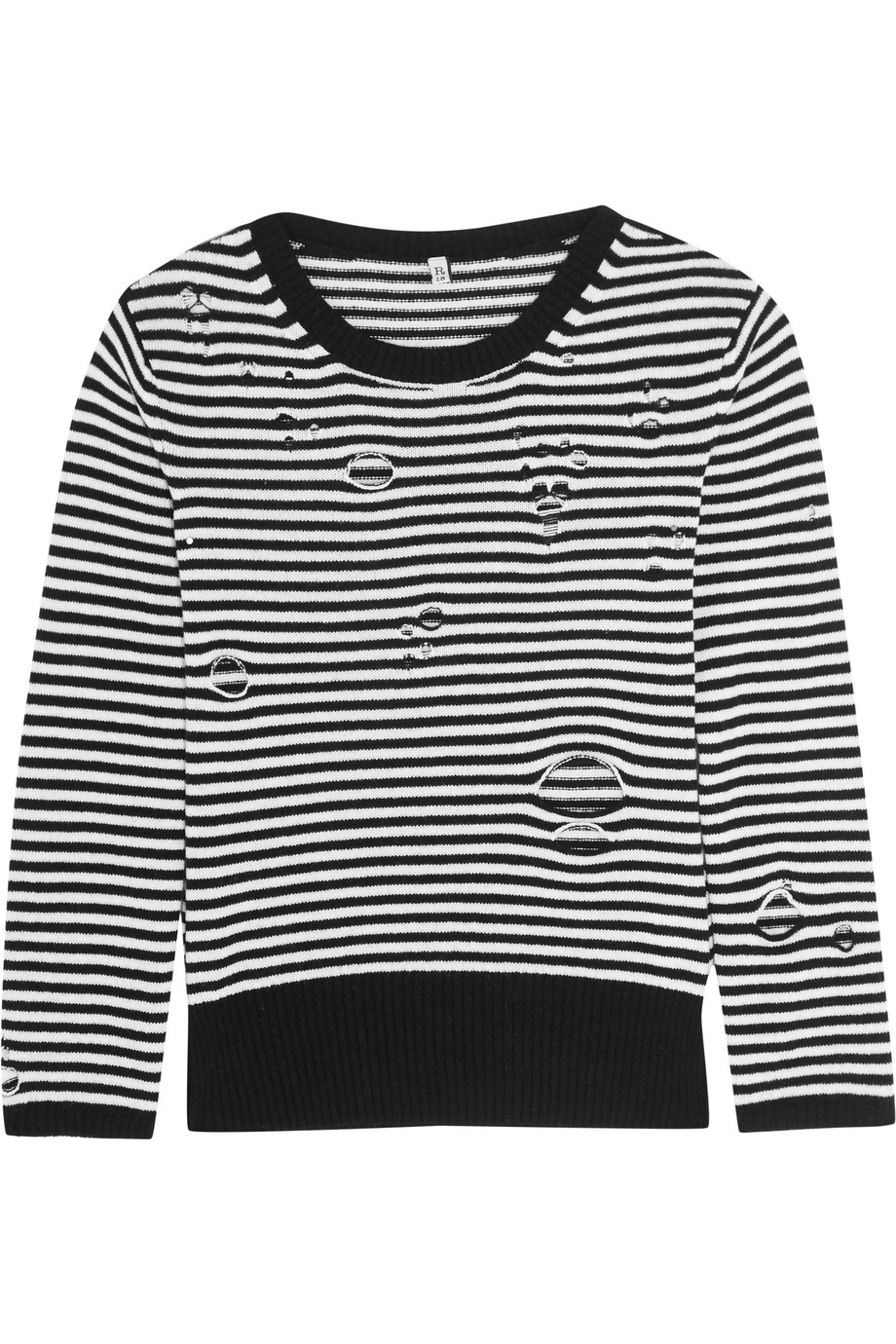 R13 Distressed Striped Cashmere Sweater, Black, Women's