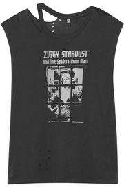 Bowie distressed printed cotton-blend jersey T-shirt