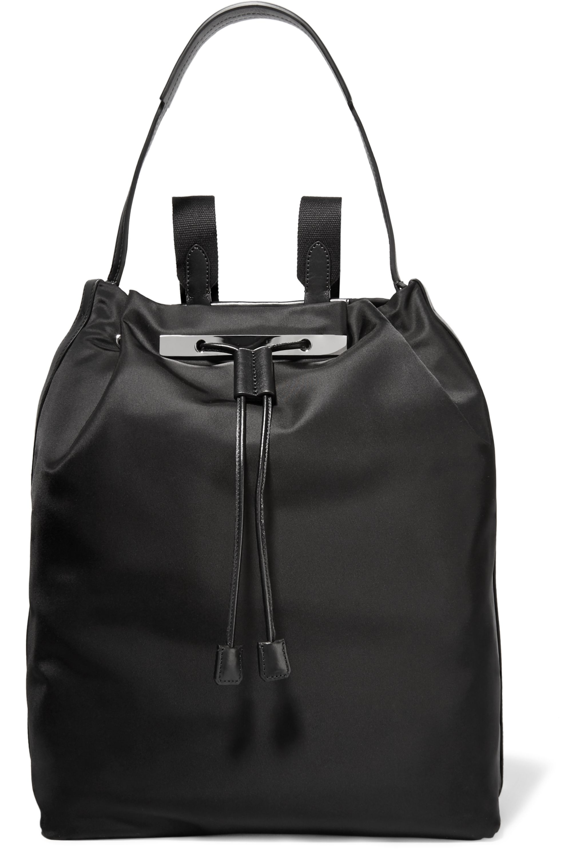 The Row Leather-trimmed satin backpack