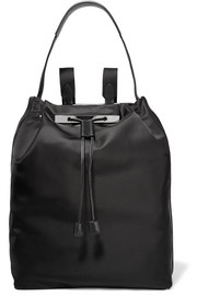 Leather-trimmed satin backpack