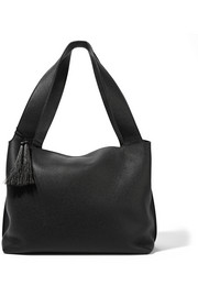 Duplex textured-leather shoulder bag