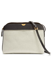 Textured leather-trimmed canvas shoulder bag